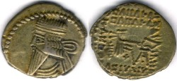 Ancient Coins -       Item #19571, KINGS OF PARTHIA: Vologases III ca 105-147 AD. Drachm (AR; 18X20mm; 3.71gr.) Ecbatana mint, Sellwood 78.4