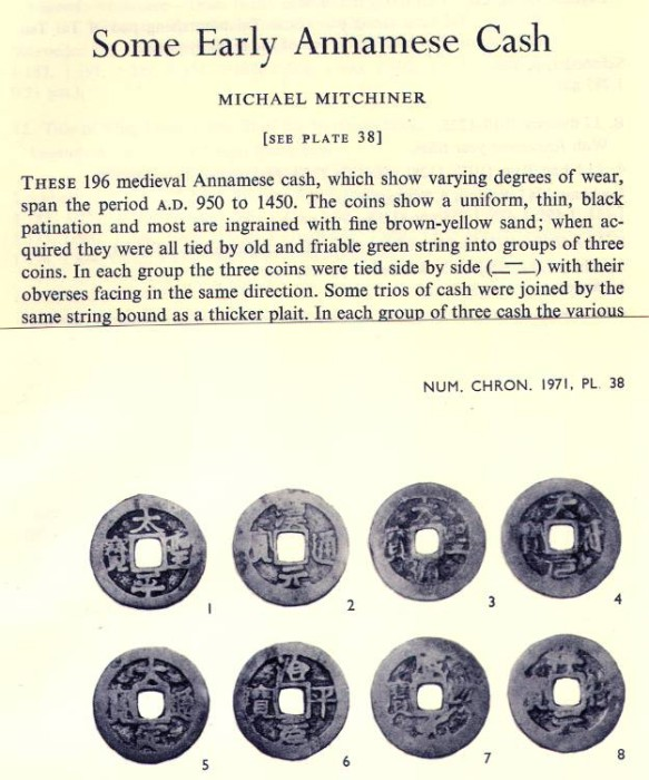 Ancient Coins - Item 3968, Original Off-prints Some Early Annamese Cash by Michael Mitchiner Published in The Numismatic Chronicle Vol. XI (1971) 8 pages plus a plate with 23 coins (cash)