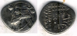 Ancient Coins - Item #19598, KINGS OF PARTHIA ORODES II 55-38 BC. DRACHM (AR; 18 x 20 MM; 3.24 G; 11H) ECBATANA MINT, Sellwood 48.9, Shore 261