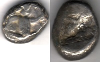 Ancient Coins - ITEM #1131, ANCIENT PERSIAN EMPIRE ACHAEMENID KINGS, (SARDIS) AR SIGLOS, TEMP. ARTAXERXES II-ARTAXERXES III (CIRCA BC 375-340), WITH DAGGER, QUIVER AND BOW TYPE, LYDIA.