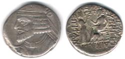 Ancient Coins - Item #19628, KINGS OF PARTHIA: VOLOGASES I (CA 51-78 AD). BI TETRADRACHM FROM SELEUCIA MINT, (AD 51/52) Sellwood 68.4-8, SHORE 370
