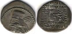 Ancient Coins -     Item #19556, Parthian Kings: Arsaces XXVI: (Sellwood: Artabanus II) (Assar: Artabanus IV) A.D. 10-38, AR drachm, Sellwood #63.6, Ecbatana mint