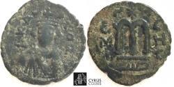 Ancient Coins - ITEM 1205, ARAB -BYZANTINE, PRE-REFORM AE FALS / FOLLIS Anonymous (after AD 641), Hims (حمص) Homs, Album 3524 , Ilisch 3d, ZENO 161237