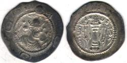 Ancient Coins - Item #20124 Sasanian, Kavad I, second reign (AD 498-531), AR drachm, PR/MI (for Forat/ Meshan) mint, year 13 Gobl SN III/2 (plate XI/190) Sellwood 52var.