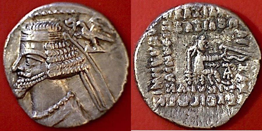 Ancient Coins - ITEM #19618, PARTHIAN KINGS: ARSACES XXI: PHRAATES IV (38 - 2 B.C), AR DRACHM, SELLWOOD #52.10, ECBATANA MINT, good XF