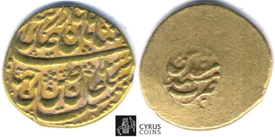 World Coins - Item #33167, Nadir Shah Afshar, MOHUR AV gold coin, MASHHAD mint, DATE (115x), RARE, FULL STRIKE! Album 2739.1 Type D, KM 389 HARD TO FIND!!