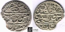 World Coins - Item #32386 Safavid (Persian Dynasty) Tahmasp II (AH 1135-1145) Silver abbasi, minted in Isfahan dated in AH 1142 (AD 1729), Album 2689.2, KM #303, ZENO 4233, CAPITAL RE-TAKEN
