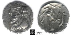Ancient Coins - Item #47155 Kings of Persis, Nambed (Namopat) circa AD 25-75 AR obol, Alram 602, Tyler-Smith NC (2004) #183 star & crescent on reverse, SCARCE still affordable