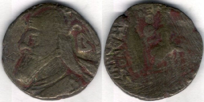 Ancient Coins -         Item #19578, Parthian Kings: Vologases IV (A.D 147-191), billon  FULLY DATED tetradrachm, Sellwood #84.8,  JUNE 149 AD, Seleucia mint, Early rare type.