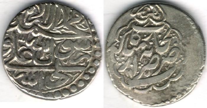 World Coins -    Item #3471, Iranian silver coin, Karim Khan Zand, Abbasi, Rekab mint (dated 1177AH) Type D, KM #528, Album 2801