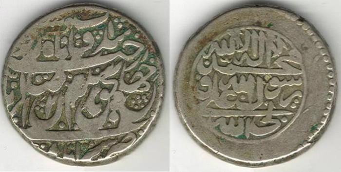 World Coins - Item #3457, IRANIAN silver coin, Karim Khan Zand, Rupi (10-shahi), AstarAbad mint (1172AH) Type A, KM #512Reign RARE,