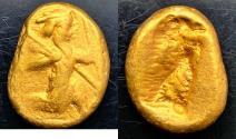 Ancient Coins - ITEM #1152, ANCIENT PERSIAN EMPIRE ACHAEMENID KINGS, GOLD AV DARIC, TIME OF DARIUS I TO XERXES II. CA. 485-420 BC, BMC PL. XXIV (26), Sunrise 24