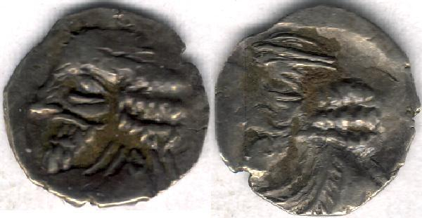 Ancient Coins - Item #47123 Kings of Persis, Pakor I ca. 1st half of first century AD AR obol, Alram 590, Tyler-Smith NC (2004) #167, two sided images of kings, A nice scarce example of this type!!