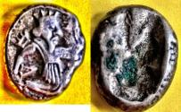 Ancient Coins - ITEM #1154, ANCIENT PERSIAN EMPIRE ACHAEMENID KINGS, (Asia Minor), SILVER SIGLOS ARTAXERXES II - III ca.375-340 BC, with dagger, Quiver and bow type. Carradice Type IV/b, Sear 4623