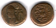 Ancient Coins - Item #5338, Ancient Persia, Elymais Dysnasty, Orodes II (early mid 2nd century AD), AE drachm, (De Morgan Type 44/5), van't Haaff 13.2.1-2B, VF