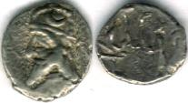 Ancient Coins - Item #4785, Kings of Persis, Darev II (Darius II) 100-1 BC AR obol, Alram 567, crescent on the crown, Tyler-Smith NC (2004) 36