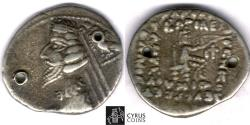 Ancient Coins - Item #19721, Parthian Kings: Arsaces XXI: Phraates IV (38 - 2 B.C), AR drachm, Sellwood 52.12, Rhagae mint (today's Reyy) VF but 2 holes, but still Affordable price for condition