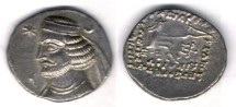 Ancient Coins - Item #19460, Parthian Kings: Arsaces XIX: Orodes II (55-38 BC) AR MULE drachm, Obverse (Sellwood #47.5) Reverse (47.7), Unpublished example!!