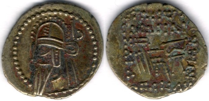 Ancient Coins -      Item #19577, KINGS OF PARTHIA: VOLOGASES VI CA 208-228 AD. DRACHM (AR; 21X19MM; 3.48 gr.; 12H) ECBATANA MINT. Sellwood 88.18