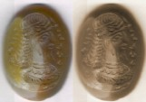 Ancient Coins - Ancient Near Eastern Art: Stone Gem, Roman/ Parthian/ Sasanian portrait of a man with legend around his head, multicolor stone ring, oval shape.