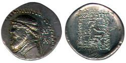 Ancient Coins - Item #19652, Parthian Empire Arsaces XI : Mithradates II (121-91 B.C), AR drachm, similar to Sellwood #24.16, Shore 72 var., Rhagae mint, very rare coin very Fine condition