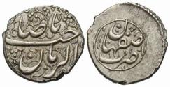 Ancient Coins - Item 32343, Anonymous AR shahi (12 mm, 1.20 g). Isfahan dated AH 1171, Album 2733.1 (type E1) Extremely fine & RR HISTORICAL PIECE see note below