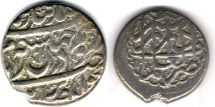 Ancient Coins - ITEM #34116, IRANIAN SILVER COIN, KARIM KHAN ZAND, 2-ABBASI, SHIRAZ MINT, AH 1183/AD 1769, TYPE C, KM #523, ALBUM 2796
