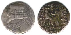 Ancient Coins - ITEM #19624, KINGS OF PARTHIA, PHRAATES IV 38-2 BC., BI TETRADRACHM MINTED IN SELEUCIA, S. 51.23 var. (S. 50.11?) see my note, VERY RARE OCT/NOV 26 BC, historically important. RR
