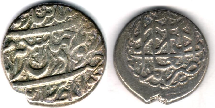 World Coins - ITEM #34116, IRANIAN SILVER COIN, KARIM KHAN ZAND, 2-ABBASI, SHIRAZ MINT, AH 1183/AD 1769, TYPE C, KM #523, ALBUM 2796