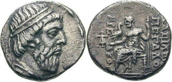 Ancient Coins -      Item#19533,  KINGS OF PARTHIA, MITHRIDATES I CA 164-132 BC. dated DRACHM (AR; 15-16MM; 3.31G; 12H) SELEUCIA MINT, 140/139 BC. Sellwood 13.8  VERY RARE
