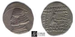 Ancient Coins - ITEM #19663, KINGS OF PARTHIA, Orodes II 57-38 BC., silver AR drachm MINT: COURT OF Rhagae SELLWOOD 46.11, Sunrise 369 traveling mint.,