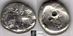 Ancient Coins - ITEM #11134, ANCIENT PERSIAN EMPIRE ACHAEMENID KINGS, (SARDIS) AR SIGLOS, TEMP. ARTAXERXES II-ARTAXERXES III (CA. BC 375-340), WITH DAGGER, QUIVER AND BOW TYPE, LYDIA ( Ach 190)