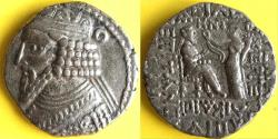 Ancient Coins - Item #19642, KINGS OF PARTHIA: Gotarzes II CA 44-51 AD. BI tetradracm; Seleucia MINT. Sellwood 65.8 dated SE 358 = (AD 46) (Dios = October/November), scarce/rare fully dated.