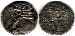 Ancient Coins - Item #19643, Parthian Kings: Arsaces XXVI: (Sellwood: Artabanus II) (Assar: Artabanos IV) A.D. 10-38, BI tetradrachm, Sellwood #61.2, Seleucia mint, September (AD 12=SE 323) *RARE*