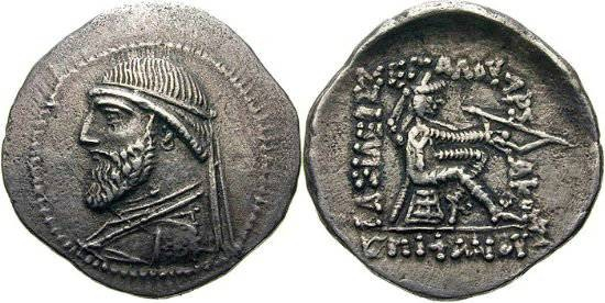 Ancient Coins -          Item #19534,  KINGS OF PARTHIA, MITHRIDATES II CA 121-91 BC. DRACHM (AR; 20-21MM; 4.15G; 12H) ECBATANA, Sellwood 24.9