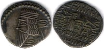 Ancient Coins -       Item #19568, KINGS OF PARTHIA: Vologases III ca 105-147 AD. Drachm (AR; 18X20mm; 3.71gr.) Ecbatana mint, Sellwood 78.3