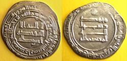 Ancient Coins - ITEM #13180 ABBASID EMPIRE (MEDIEVAL ISLAM) THIRD PERIOD, AL-MU'TADID 279-289 AH (AD 892-902), AR DIRHAM minted in Shiraz in 289 AH (last year), Album 242