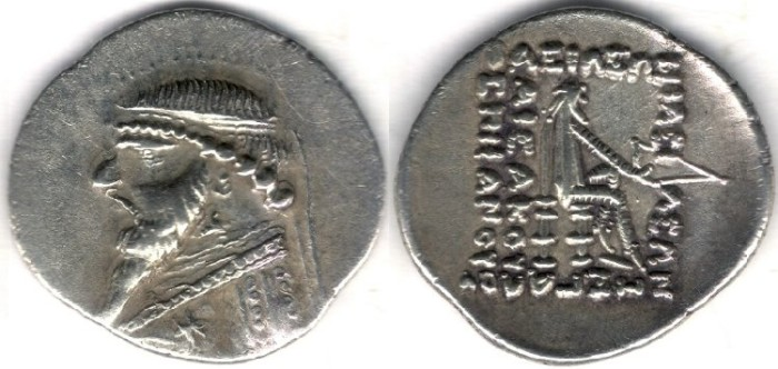 Ancient Coins -     Item #19526, Parthian Empire Arsaces XI : Mithradates II (121-91 B.C), AR Drachm, Sellwood #27.2. Ecbatana mint, good XF+