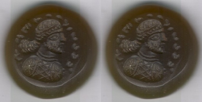 Ancient Coins - Ancient Near Eastern Art: Stone Gem, Roman/ Parthian/ Sasanian portrait of a man with legend around his head, brownish yellow in color stone ring, round shape