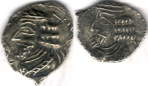Ancient Coins - Item #47130 Kings of Persis, Pakor I ca. 1st half of first century AD AR obol, Alram 594, Tyler-Smith NC (2004) #154 var., two sided images of kings, with a crescent on obverse!