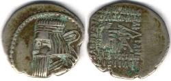 Ancient Coins -      Item #19553, Parthian Kings: Arsaces XXVI: (Sellwood: Artabanus II) (Assar: Artabanus IV) A.D. 10-38, AR drachm, Sellwood #63.6, Ecbatana min