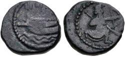 Ancient Coins - ITEM #1167, Achaemenid Kingdom, PHOENICIA, Sidon. temp. Ba`alšillem (Sakton) II-`Abd`aštart (Straton) II. Circa 401-333 BC. RARE Æ unit