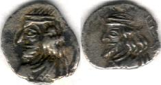 Ancient Coins - Item #47126 Kings of Persis, Pakor I ca. 1st half of first century AD AR obol, Alram 590, Tyler-Smith NC (2004) #153, two sided images of kings, A nice scarce example of this type with traces of legend on reverse!!