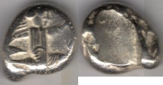 Ancient Coins - ITEM #1122, ANCIENT PERSIAN EMPIRE ACHAEMENID KINGS, (IRAN) SILVER SIGLOS, TIME OF XERXES II. CA. 425-420 BC, with dagger, Quiver and bow type. affordable piece of history!!