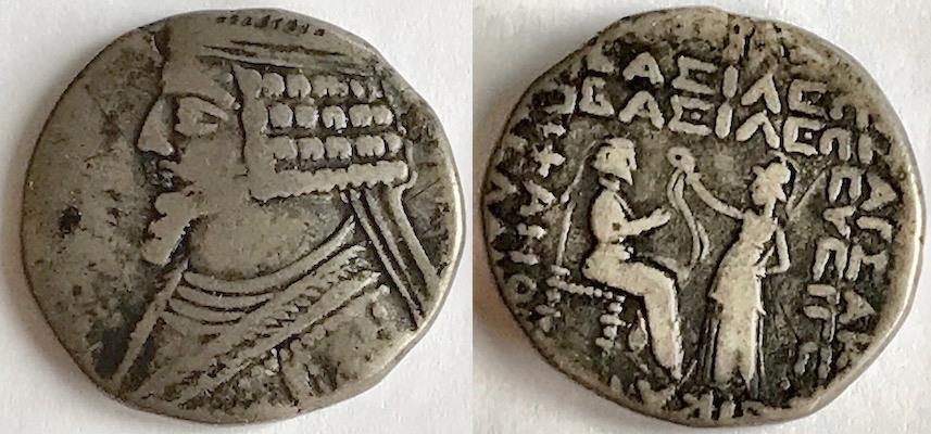 Ancient Coins - ITEM #19630, KINGS OF PARTHIA, PHRAATES IV 38-2 BC., BI TETRADRACHM MINTED IN SELEUCIA, SELLWOOD type 52  (date off flan) affordable piece of history