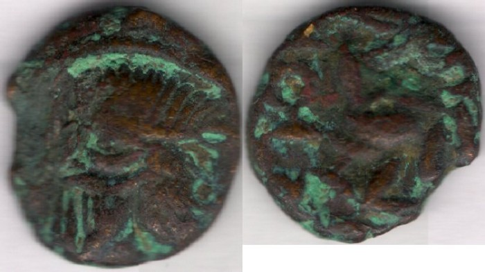 "Ancient Coins - Item #19515, Parthian bronze AE, Sanabares, AD 50 - 65  Margiane mint, Sellwood #93.5 "" Bronze Drachm""! VERY RARE SYMBOL on revese"