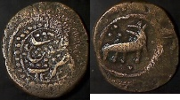 Ancient Coins - ITEM #4536, PERSIAN CIVIC COPPER COIN, Qajar AE FALUS, DATED 1245 AH (AD1829), MINTED IN Sa'ujbulagh ساوجبلاغ , wolf/fox? WALKING RIGHT with head back, RARE, ALBUM 3258. BROAD FLAN