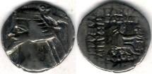 Ancient Coins - Item #19601, Parthian Kings: Arsaces XXI: Phraates IV (38 - 2 B.C), AR drachm, Sellwood #52.10, Shore 278, Ecbatana mint, good VF great value for the price!