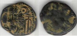 Ancient Coins - Item #5303, Ancient Persia, Elymais Dysnasty, Kamnaskir-Orodes (Circa 190 AD?), AE drachm, (De Morgan Type 50), VF/F