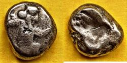 Ancient Coins - ITEM #1164, ANCIENT PERSIAN EMPIRE ACHAEMENID KINGS, (SARDIS) AR silver SIGLOS, TEMP. ARTAXERXES II-ARTAXERXES III (CA. BC 375-340) DAGGER, QUIVER AND BOW C/M of butterfly on OBV.